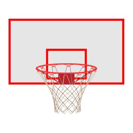 Basketball hoop on backboard isolated on white background