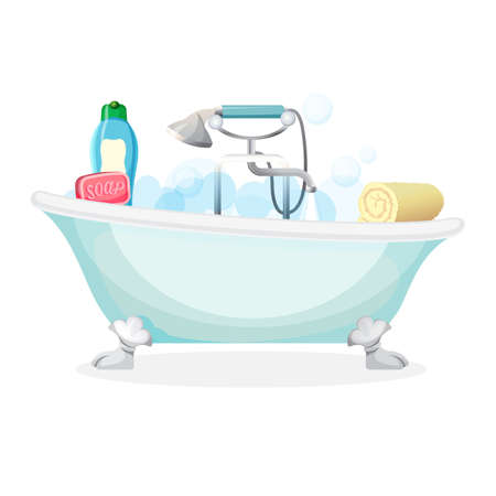 a bathing place: Bath tub isolated full of foam with bubbles Illustration