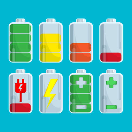polarity: Battery set with steps of charge isolated on blue Illustration