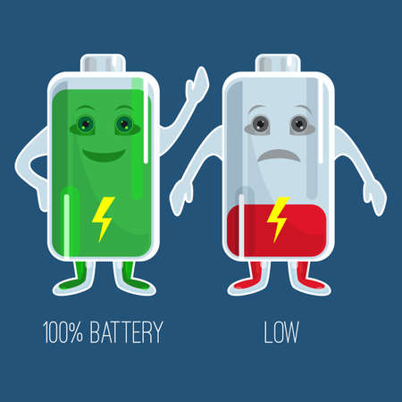 Cute full and low charged batteries in flat design