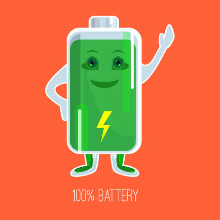 Cute full charged battery cartoon character with hands and face Illustration
