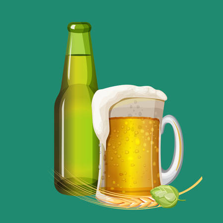 Green beer bottle and frothy drink in glass mug