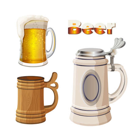 glass cup: Glass beer cup with foam, ancient bavarian and wooden mug