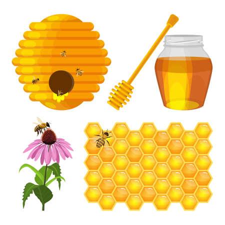 Set of beekeeping elements vector beehive, honeycomb, flower, fresh honey