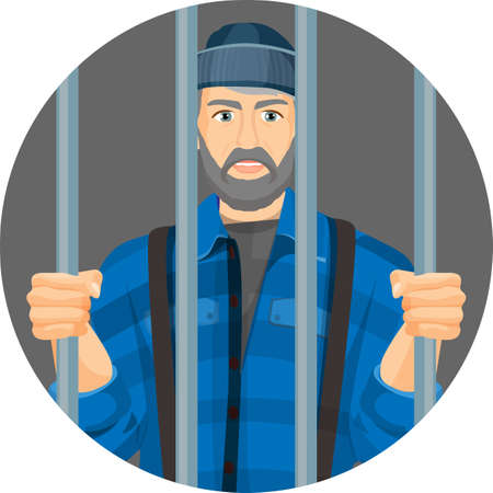 lawbreaker: Caucasian unshaven man behind bars in round button isolated on white