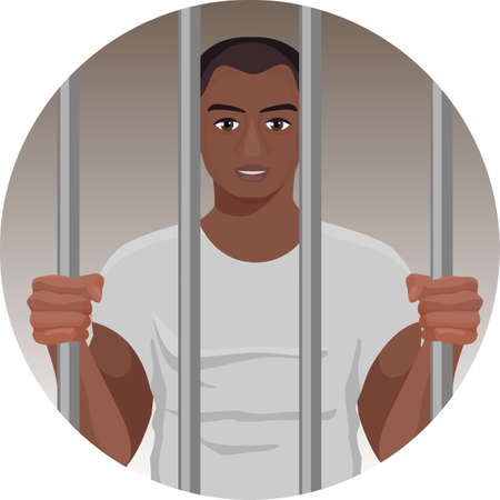 lawbreaker: Black skin man behind bars in round button isolated