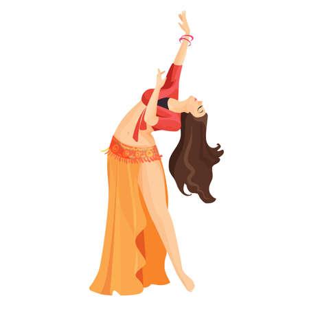 Buikdanseres meisje geïsoleerd op wit. Professionele blanke vrouw dans