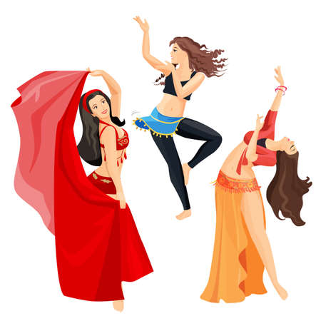 Belly dancers set of girls isolated on white background. Vettoriali