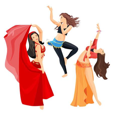 Belly dansers set meisjes geïsoleerd op een witte achtergrond.