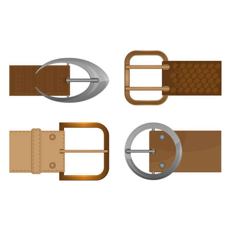 Belt buckles metal unisex clothing accessories worn on waistband. Illustration