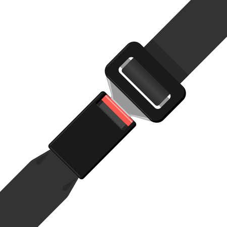 waistband: Safety black belt isolated on white background. Security seatbelt