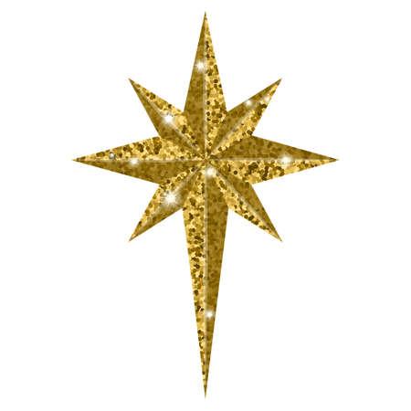Betlejem Bożenarodzeniowa złota gwiazda odizolowywająca na białym tle. Ilustracje wektorowe