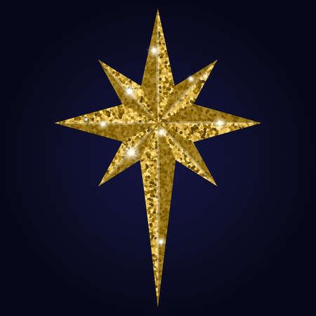 Bethlehem Christmas golden star isolated on background Illustration