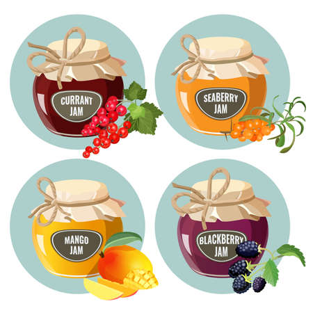 conserved: Jars with red strawberry, healthy pineapple, apple and blueberry jam. Illustration