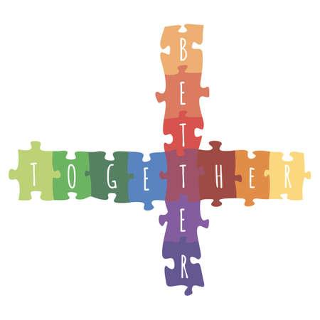 퍼즐 함께 만든 로고 디자인 더 나은 벡터 다채로운 그림.