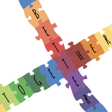 Better together logotype design made of puzzle vector colorful illustration. Illustration