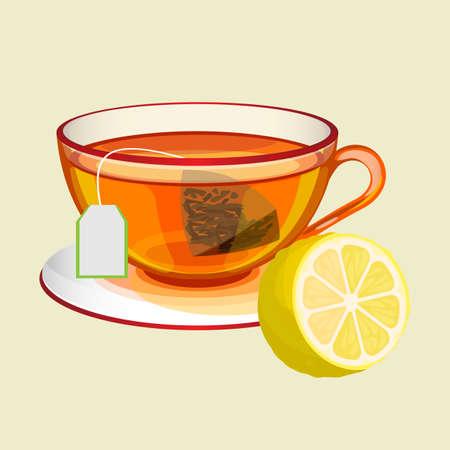 Cup on saucer with tea bag, water and fresh lemon. Vektorové ilustrace