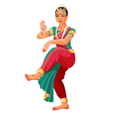 classical dance: Bharatanatyam or Bharathanatiyam woman dancer vector ilustration isolated.
