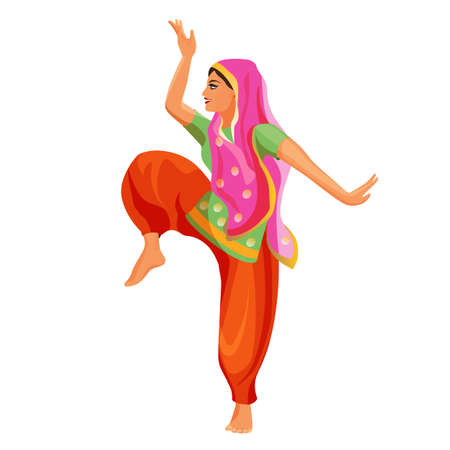 Solo dance performed by girl in silk shirt and trousers with covered head.