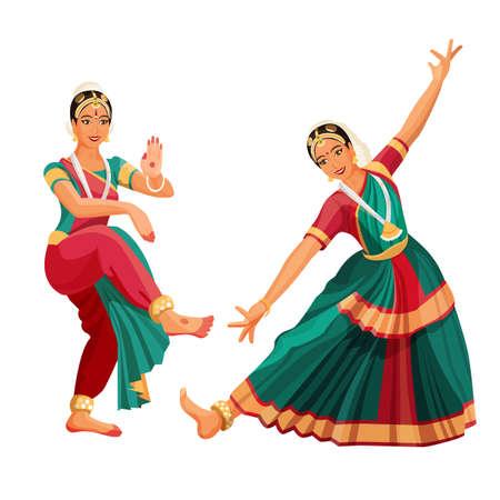 Woman dancer in national indian cloth dancing Bharatanatyam folk dance.
