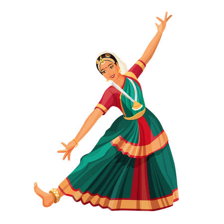 Solo dance performed by girl with hindi accessories. Bharatanatyam woman.