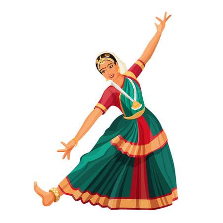 Taniec solowy wykonywany przez dziewczynę z hinduskimi akcesoriami. Bharatanatyam kobieta.