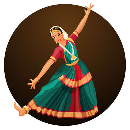 performed: Solo dance performed by girl with hindi accessories. Bharatanatyam woman.