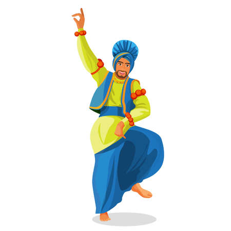 Bhangra dancer in national cloth vector illustration isolated on white. Illustration