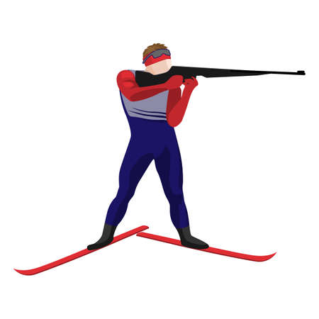 relay: Biathlonist with small-bore rifle standing on skis vector illustration isolated. Illustration