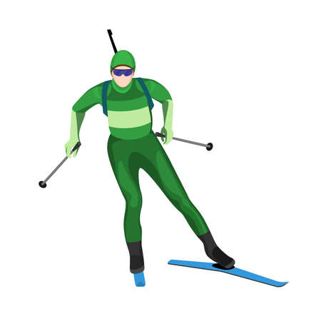 lightweight: Biathlete skier with two lightweight poles on skis with rifle. Illustration