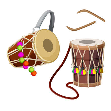 double headed: Dhol types of double-headed drum and wooden sticks vector illustration.