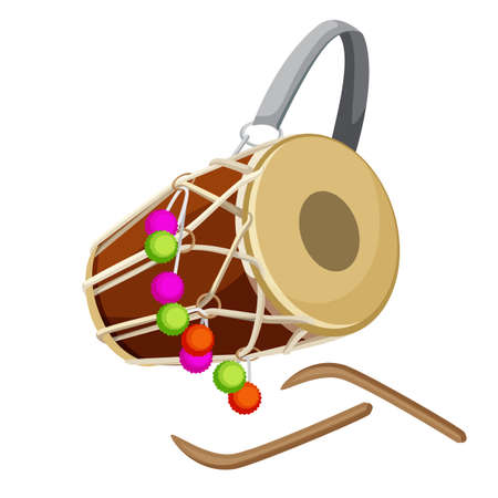 Drum percussion instrument double-headed dhol and wooden sticks vector.
