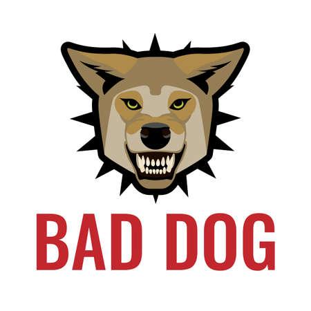 kampfhund: Bad Hund Plakat Vektor-Illustration auf weiß. Achtung vor den Hunden.