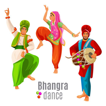 Bhangra dance concept men and woman in national cloth dancing. Illustration