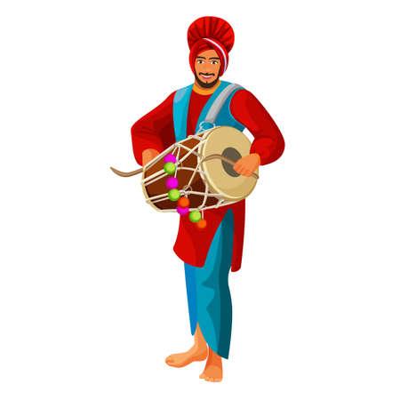 Punjabi bhangra drummer in national cloth vector illustration.