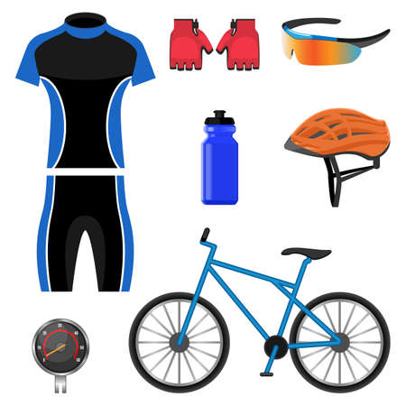 sportswear: Cool set of bicycling icons vector illustration isolated on white background.