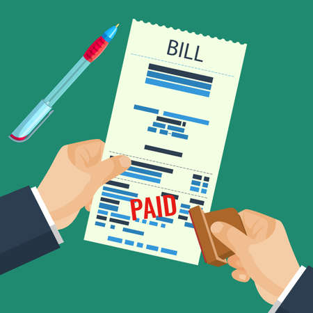 human hands: Paid bill in human hands with rubber stamp vector illustration
