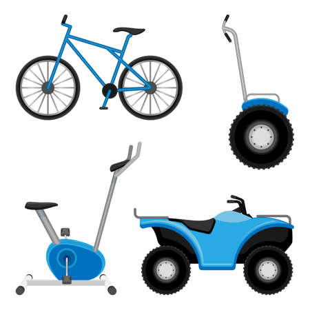 a two wheeled vehicle: Exercise bike and bicycle, all-terrain vehicle, two wheeled segway isolated