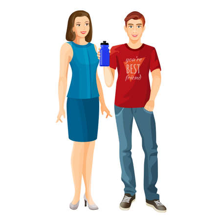 Man wears t-shirt and jeans, woman in dress vector
