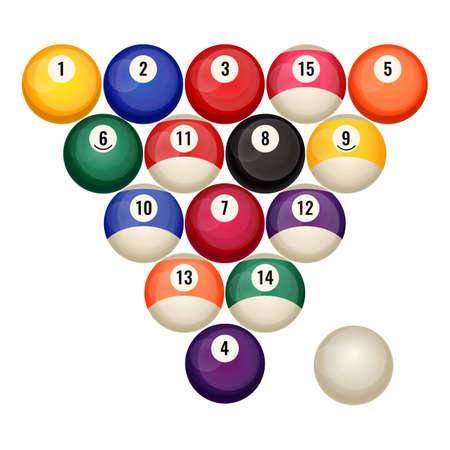Pool billiard balls in starting position vector illustration isolated on white. Illustration