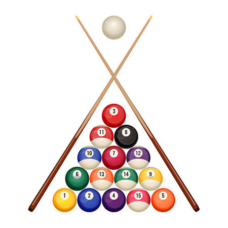Pool billiard balls starting position with crossed wooden cues vector Vettoriali