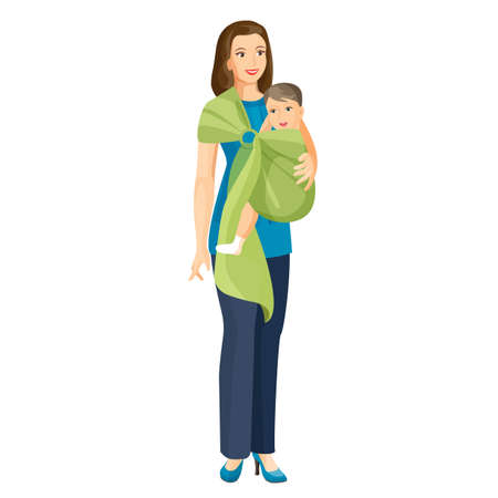 Woman carries little baby boy in sling shoulder-cloth vector illustration