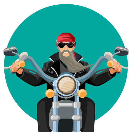 Biker wearing leather clothes with grey long beard riding motorcycle
