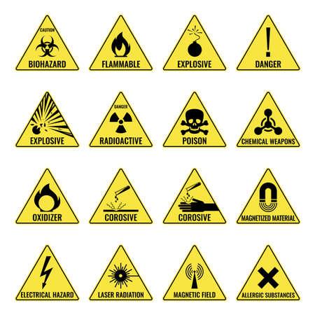 Icona gialla triangolare di avvertimento pericoloso impostata su bianco