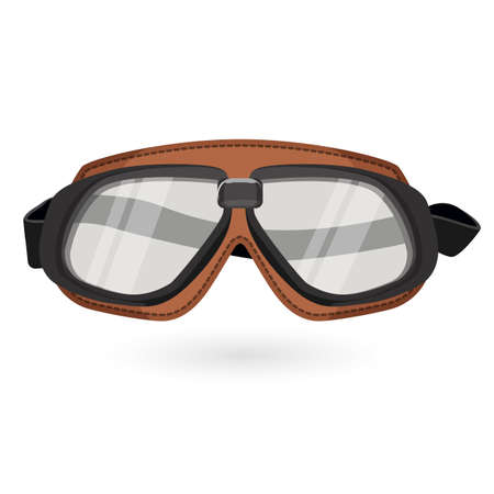 protective eyewear: Brown aviation goggles in vintage style isolated on white Illustration