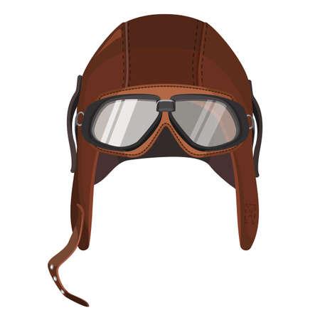 Cappello marrone di cricket con gli occhiali isolati su bianco