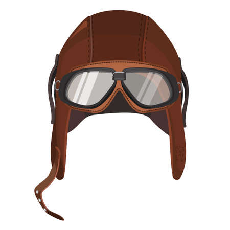 Brown aviator hat with goggles isolated on white Illustration