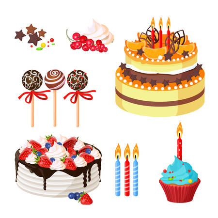 Birthday cakes and attributes colorful poster on white Illustration