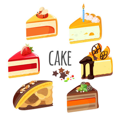 cupcake illustration: Set of cake pieces with fruits, white and black chocolate Illustration
