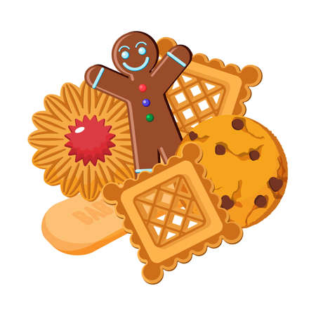 christmas cookie: Set of vector biscuits of various types, gingerbread confectionery Illustration